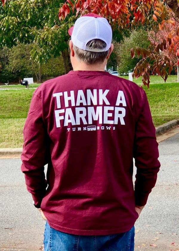 Turnrows Thank A Farmer Long Sleeve T-Shirt TRW672C00TAF Maroon