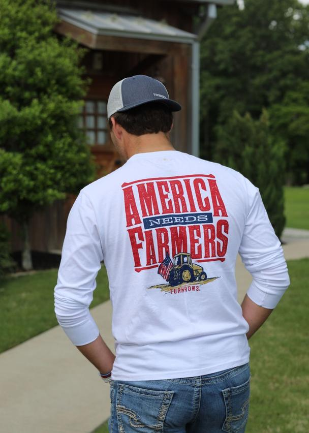 Turnrows America Needs Farmers Long Sleeve Tee