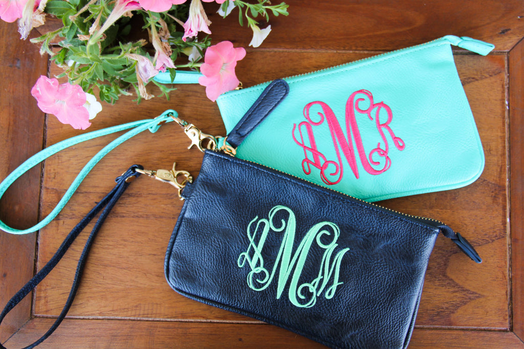Faux Leather Wristlet w/ Monogram