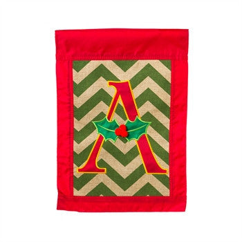 Christmas Chevron Monogram Garden Flag