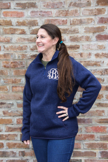 Monogrammed Heather Quarter Zip
