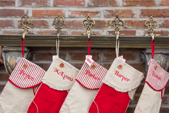 Mud Pie Vintage Styled Christmas Stockings w/ Embroidered Name