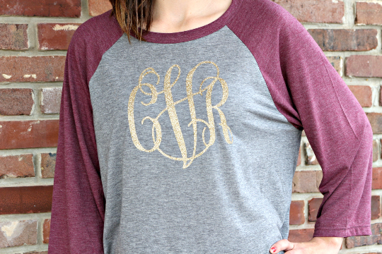 Baseball Tee with Glitter Monogram