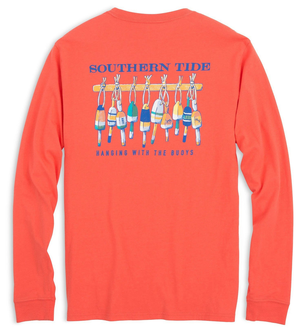 Southern Tide Hanging With The Buoys Long Sleeve T-Shirt  2543-1080 Hot Coral