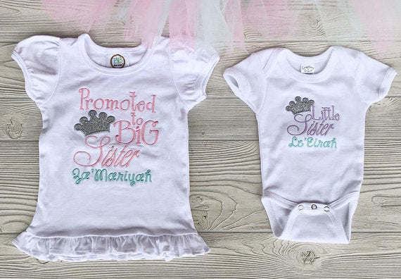 Promoted to Big Sister Shirt & Onesie Set