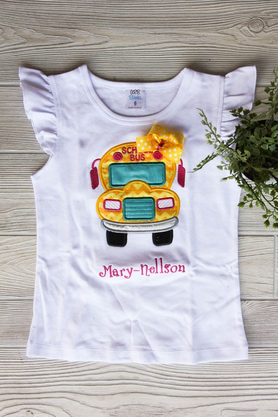 First Day of School Bus Shirt Darling Custom Designs