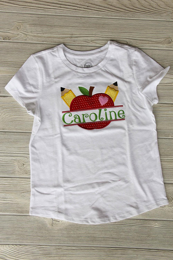 Apple School Shirt w/Name Darling Custom Designs