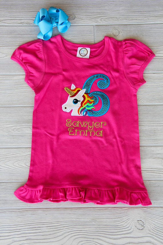 Unicorn Birthday Ruffle Tee
