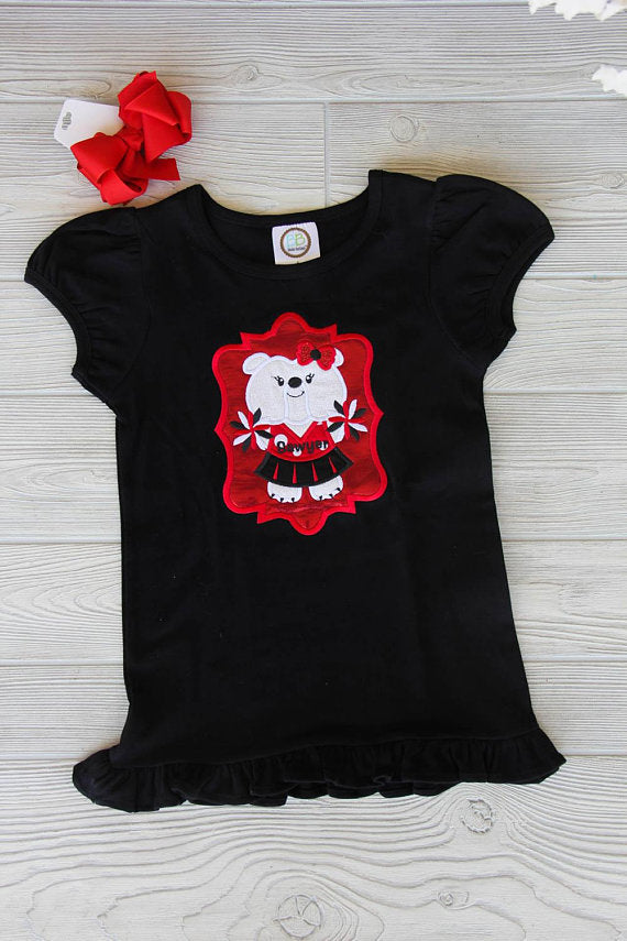 Little Cheerleader Bulldog Mascot Tee
