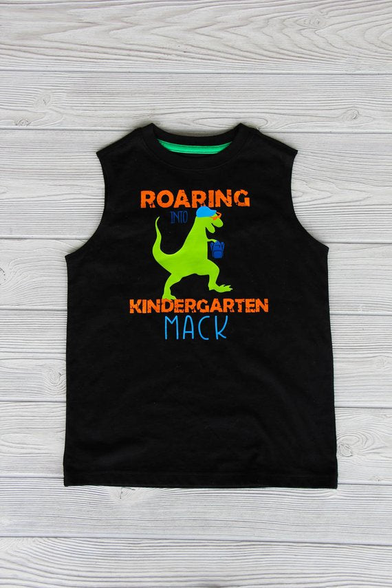 "Boy's ""Roaring into Kindergarten"" Dinosaur Tank Darling Custom Designs"