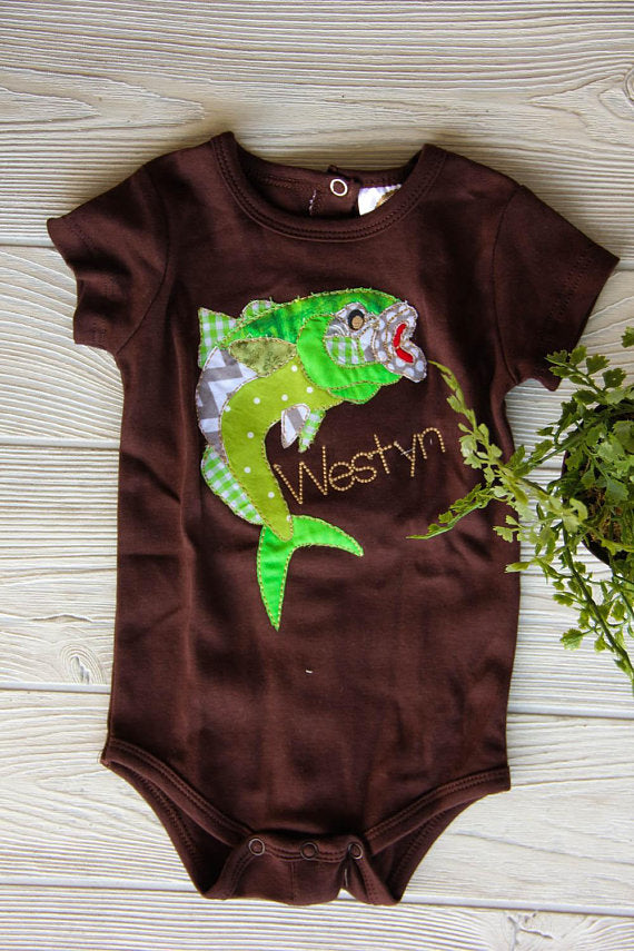Boys Fish Diaper Shirt with Name