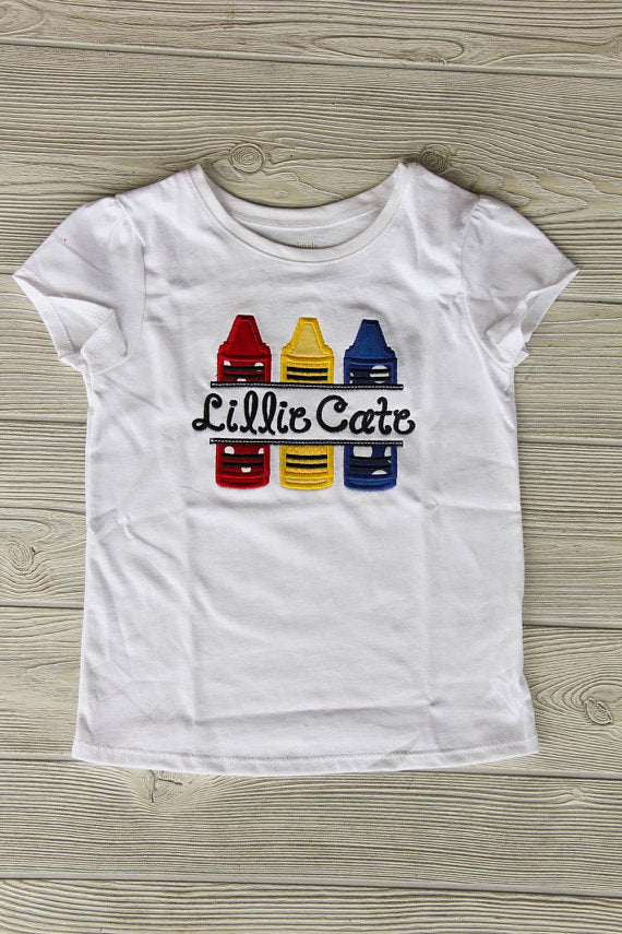 Crayon School Shirt w/Name Darling Custom Designs