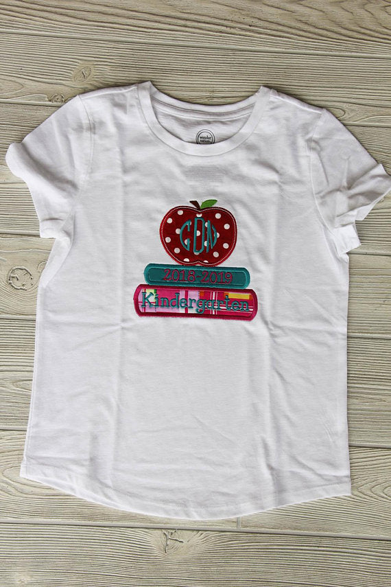 Kindergarten Apple Monogram Tee w/School Year Darling Custom Designs