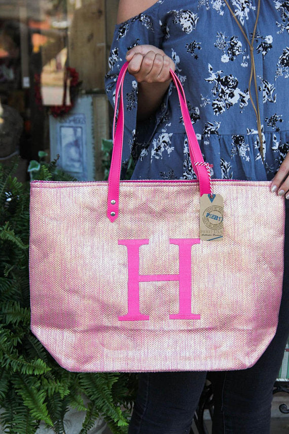 Metallic Initial Tote by Pier 17