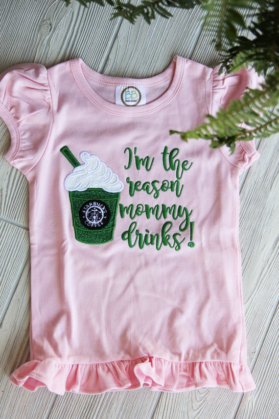 Cute Starbucks Girl's Ruffle Tee