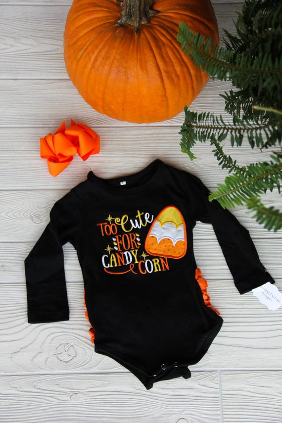 Too Cute for Candy Corn Baby Onesie