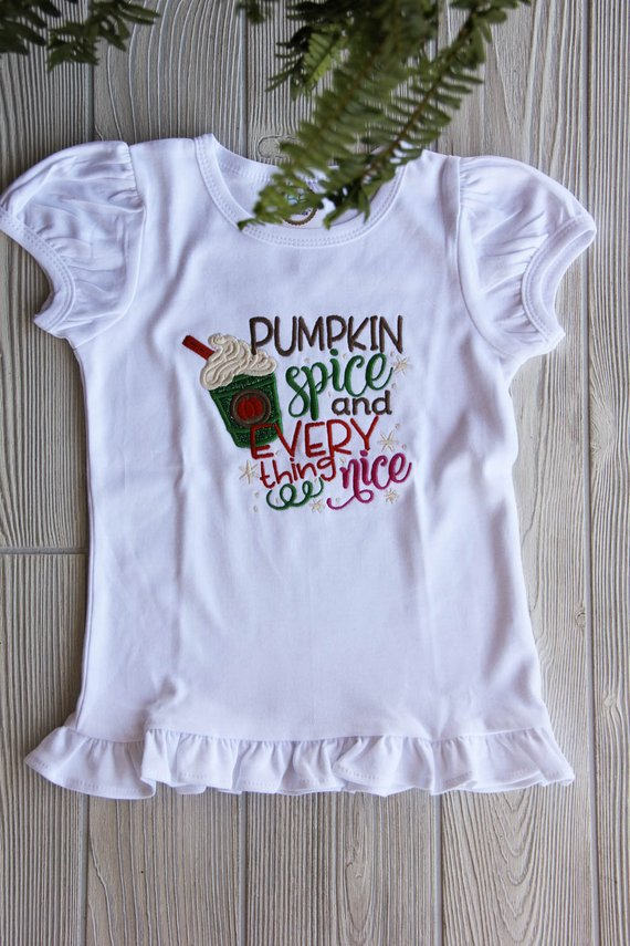 Pumpkin Spice and Everything Nice Girl's Ruffle Tee