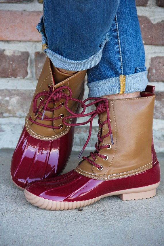 Red Duck Boots w/ Monogram