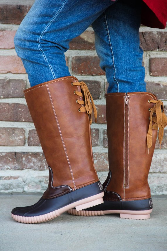 Tall Monogrammed Duck Boots | Brown