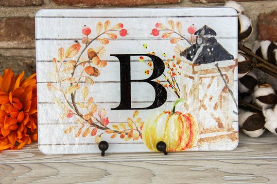 Autumn Inspired Initial Glass Cutting Board