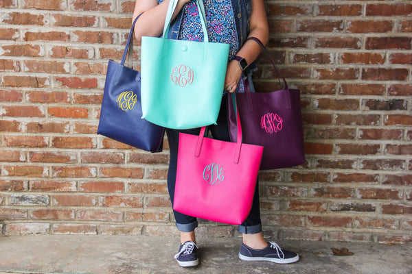 Faux Leather Tote w/ Monogram