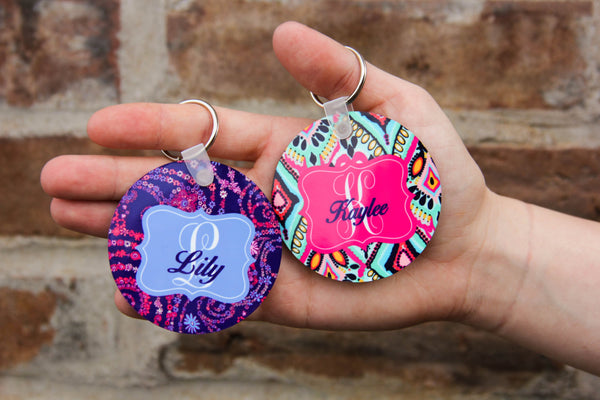 Darling Custom Designs Double-sided Round Personalized Keychain Lilly Pulitzer Inspiration