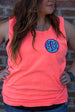 Comfort Colors Tank with Applique Embroidered Monogram