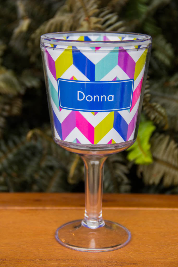 Acrylic Personalized Wine Glass Non Breakable Name Monogram or Initial Paparte