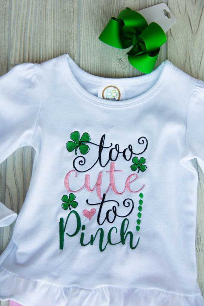 Saint Patrick's Day Outfit - Too Cute to Pinch Darling Custom Designs