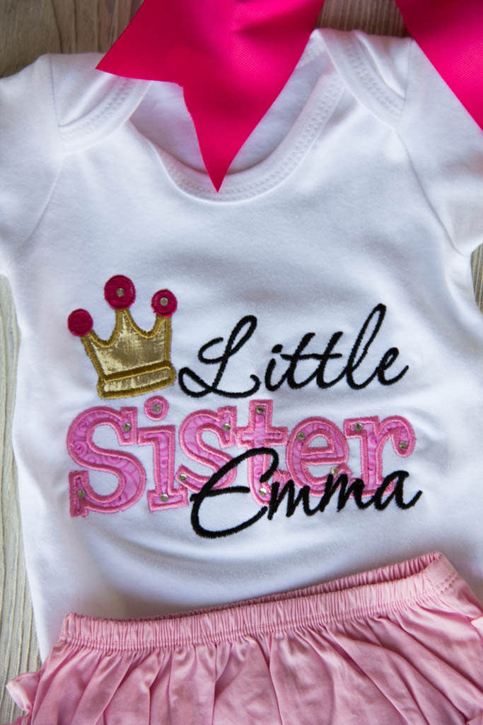 Little Sister Outfit Set w/ Name by Darling Custom Designs