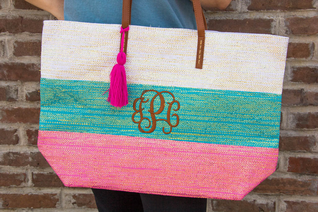 Personalized Metallic Striped Totes