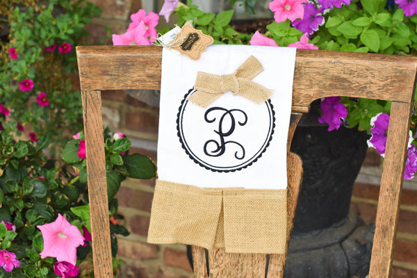 Burlap Hand Towel w/ Embroidered Monogram