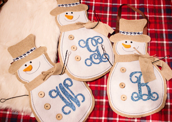 Snow Man Door Hanger With Initial