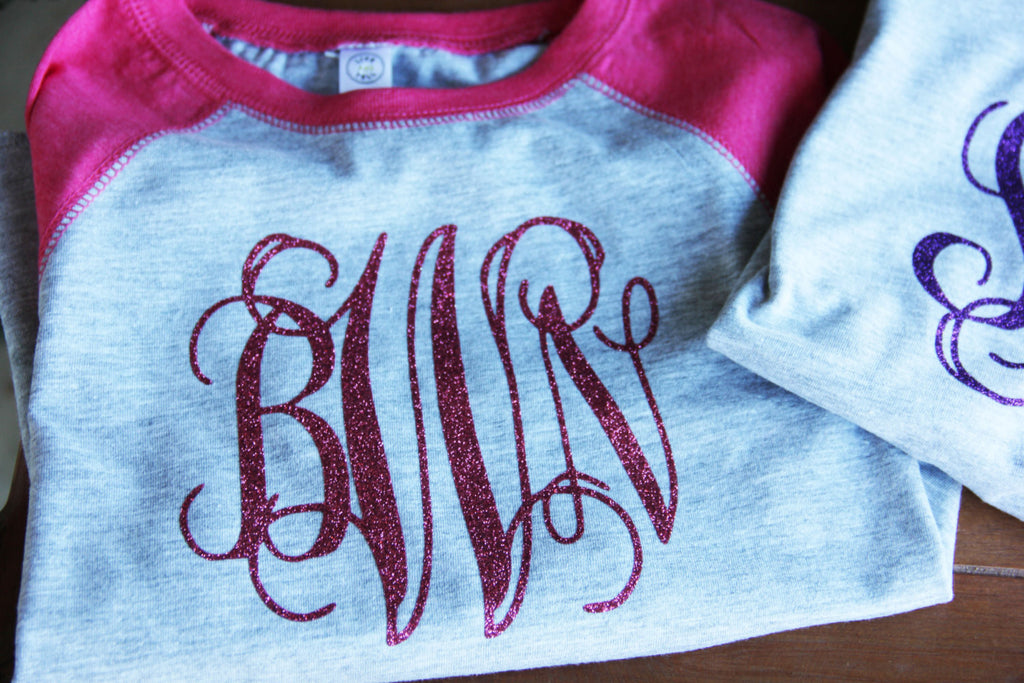 Youth Baseball Tee w/ Glitter Monogram Darling Custom Designs
