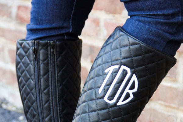 Black Quilted Boot Extended Calf w/ Monogram