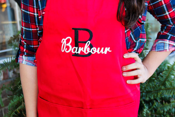 Red Initial Monogrammed Apron