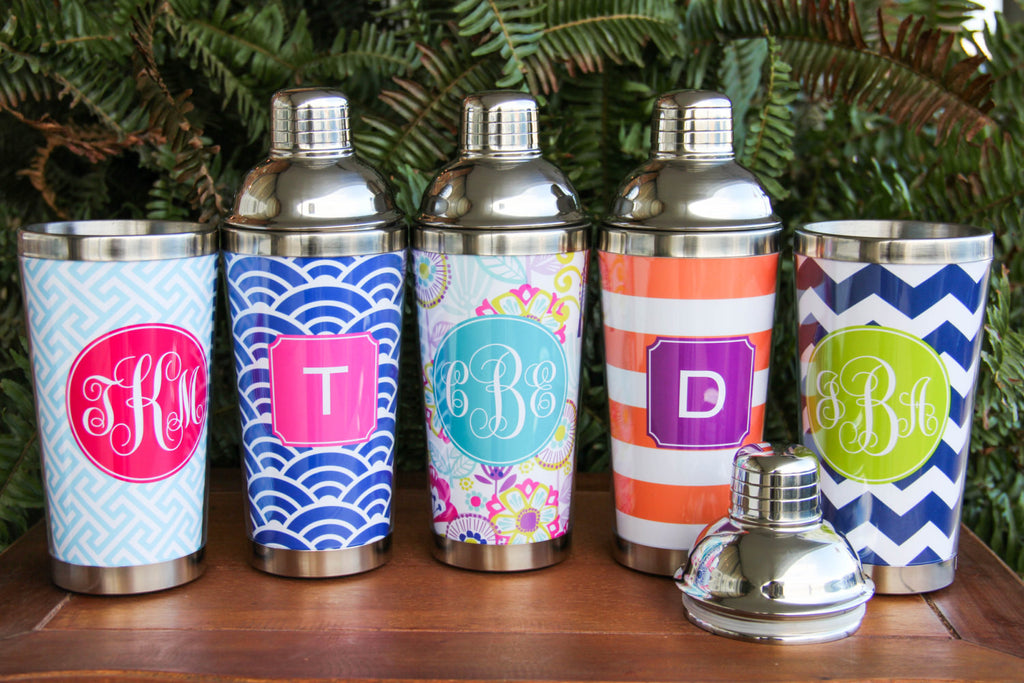 Personalized Cocktail Shakers Barware with Free Travel mug lid!