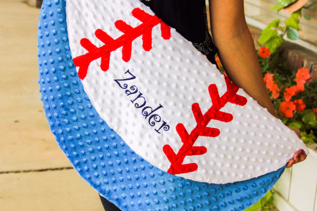 Baseball Baby Blanket with Embroidered Name Darling Custom Designs La Boutique