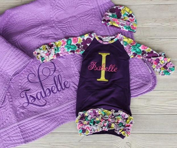 Newborn Gown w/ Name & Initial Keepsake Set