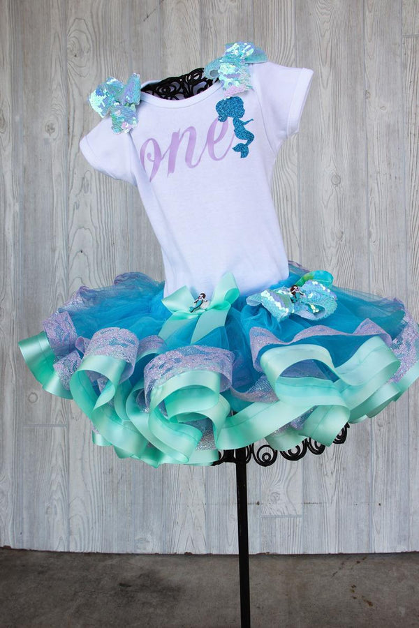 Mermaid Themed Birthday Top with Tutu