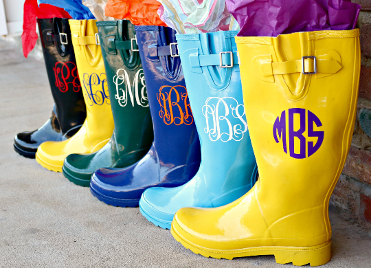 Monogrammed Light Blue Rain Boots