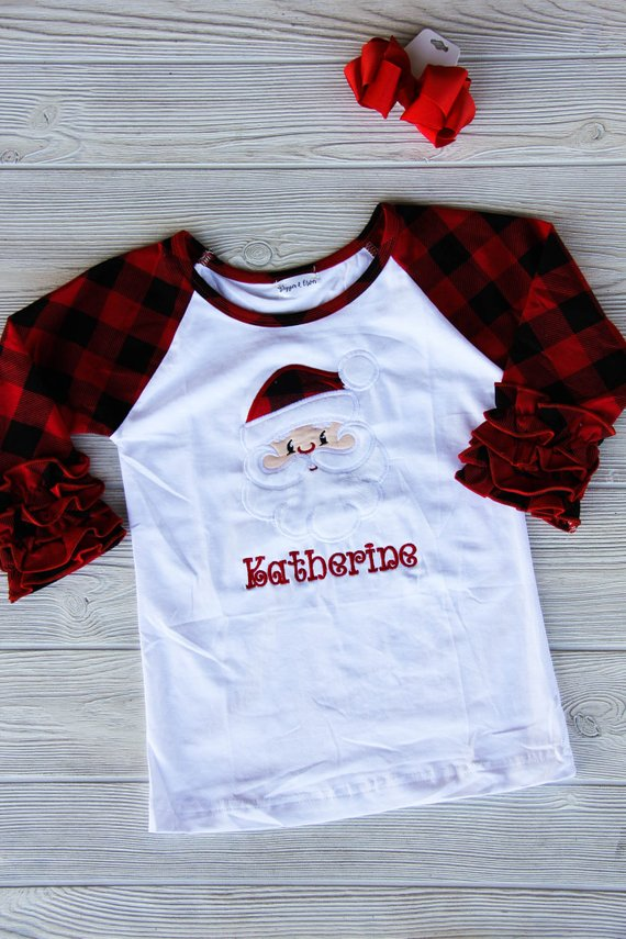 Buffalo Plaid Santa Ruffle Tee