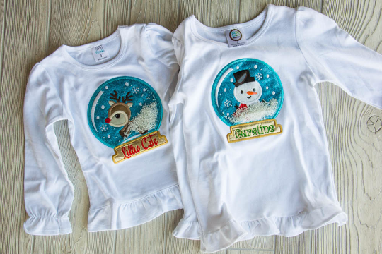 Snow Globe Ruffle Tee Darling Custom Designs