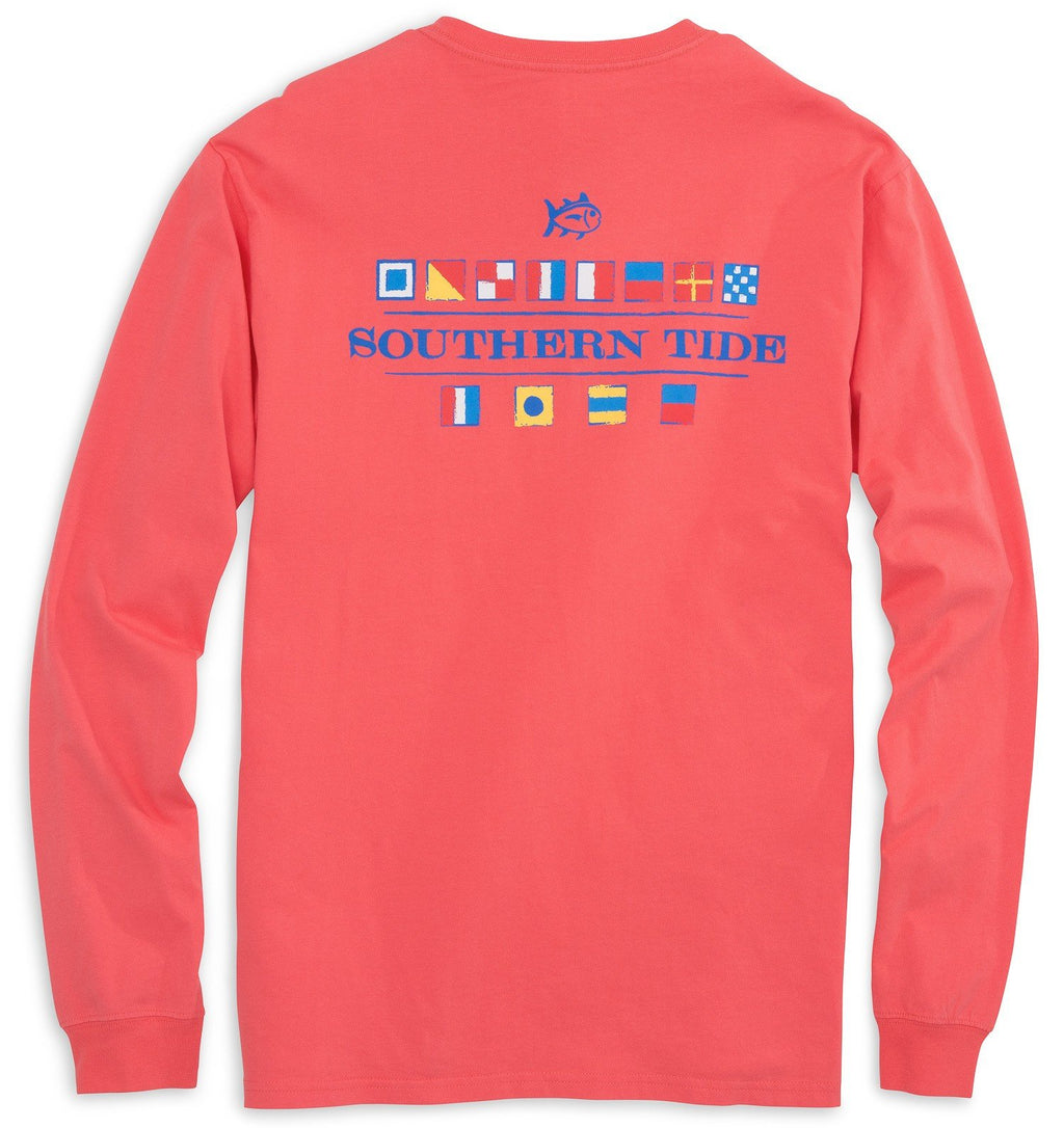Southern Tide Nautical Flag Long Sleeve T-Shirt Sunset Coral 2050T-1085