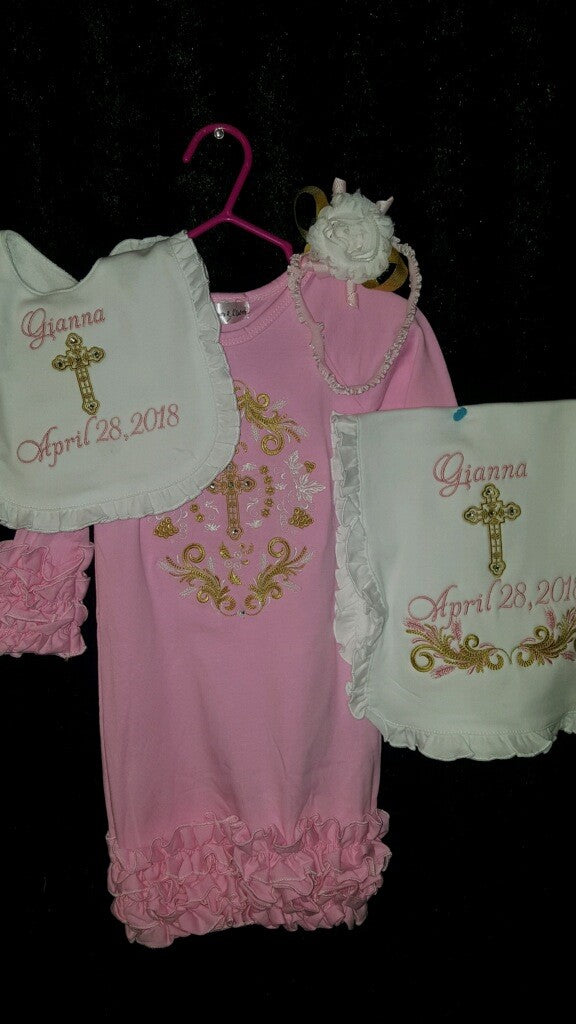 Baptism Gown Set - Baptismal Baby Set, Baptismal Keepsake