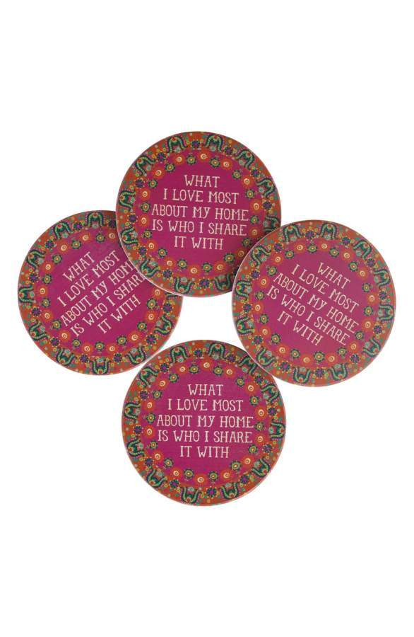 "Natural Life ""What I Love Most""  or ""Be Happy"" Set of 4 Coasters"