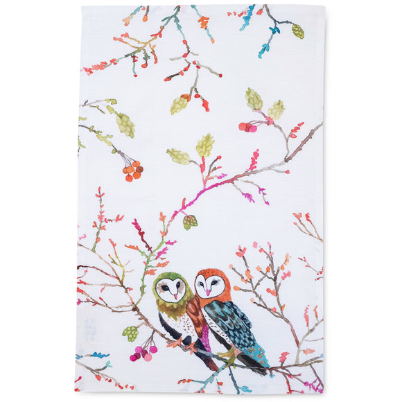 "Betsy Olmsted Design Barn Owls Tea Towel (15"" x 24"")"