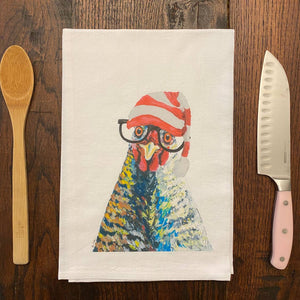 Christmas Chicken Flour Sack Towel, Farmhouse Tea Towel