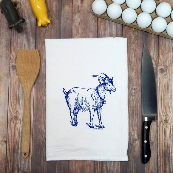 Goat Flour Sack Tea Towel - Royal Blue