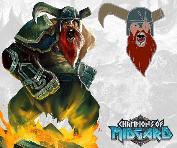 Champions of midgard Kickstarter Ullr the Berserker Pinny Arcade Pin The game steward thegamesteward Grey fox Games Greyfoxgames